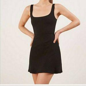 Reformation Black Mia Dress Ribbed Jersey Small